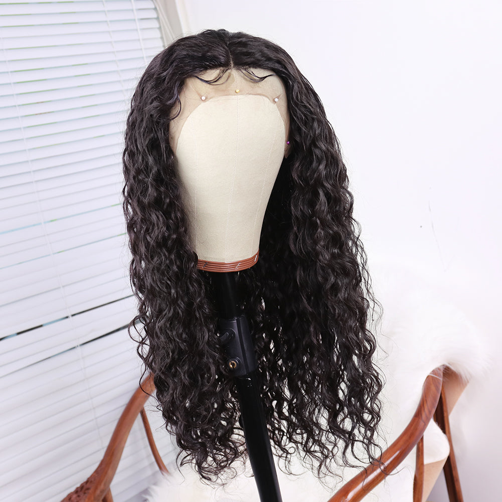 COLODO Human Hair Lace Front Deep Wave Natural Wigs for Women