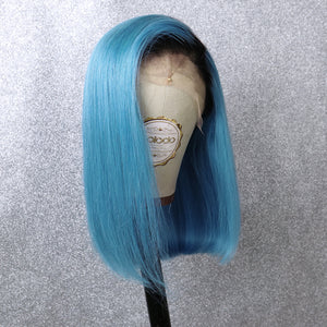 COLODO Blue Ombre Black Short Bob Lace Front Wigs for Women Human Hair Wig Cosplay Halloween Party Wig