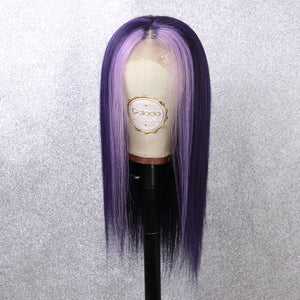 COLODO Purple Lace Front Wigs Long Straight Remy Human Hair for Women Cosplay Halloween Party Wig