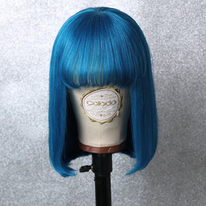 COLODO Blue Short Bob Lace Front Wigs with Bang for Women Human Hair Wig Cosplay Halloween Party Wig