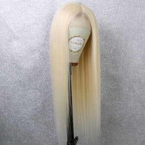 COLODO 613 Blonde Lace Front Wigs for Women Long Straight Human Hair Wig Cosplay Halloween Party Wig