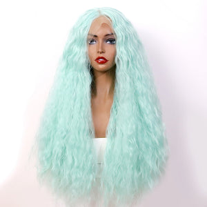 COLODO Pale Green Long Curly Wigs Women's Synthetic Hair Lace Front Cosplay Wigs