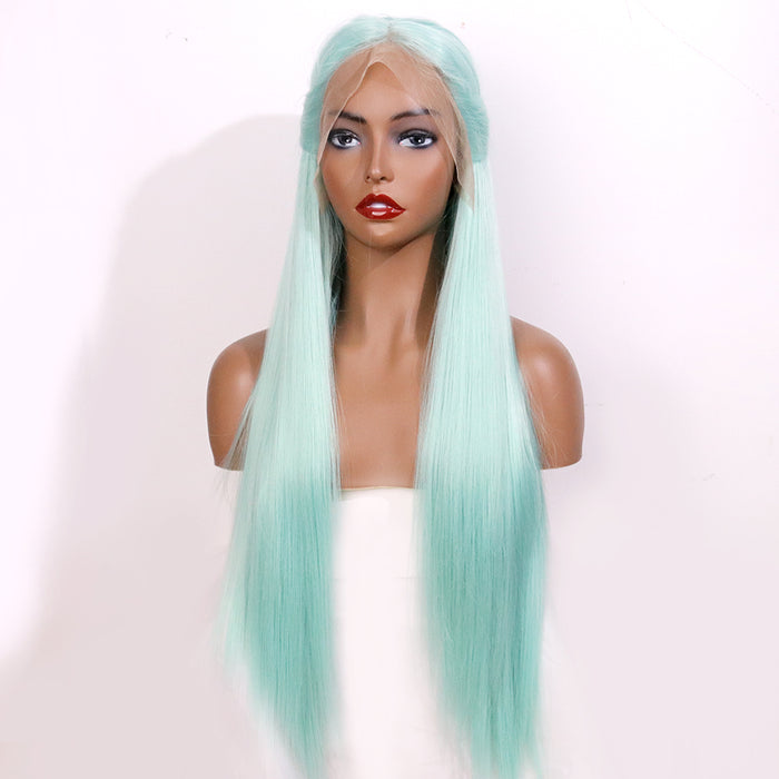 Pale Green High Temperature Fiber Wigs Long Natural Straight Synthetic Lace Front Wig For Women