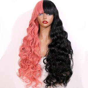 COLODO Women's Wig Hair Long Wavy Cosplay Wigs Half Black and Reddish Orange Pink Halloween Costume Wig