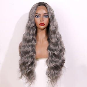 COLODO Gray-Brown Lace Front Wigs for Women Synthetic Wig Long Body Wavy