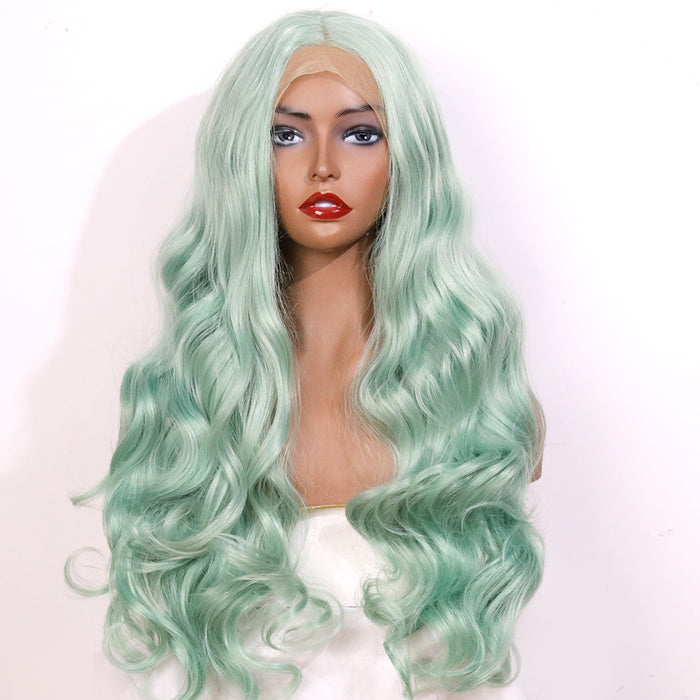 COLODO Pale Green Lace Front Wigs for Women Synthetic Wig Long Body Wavy