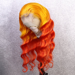 COLODO Yellow Ombre Orange Lace Front Wigs for Women Human Hair Wig Cosplay Halloween Party Wig