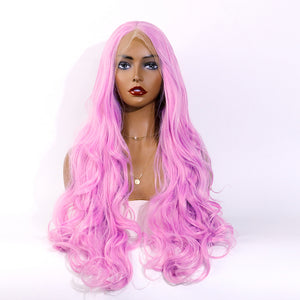 COLODO Lace Front Wigs Pink Wigs for Women Synthetic Wig Long Wavy