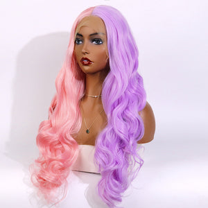 COLODO Women's Wig Hair Long Wavy Cosplay Wigs Half Light Pink and Purple Halloween Costume Wig