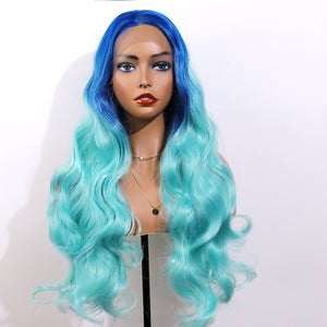 COLODO Blue-Green Gradient Ombre Wigs Lace Front Wigs for Women Synthetic Wig Long Wavy