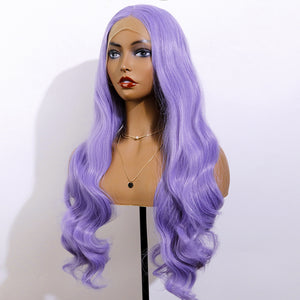 COLODO Light Purple Lace Front Wigs for Women Synthetic Wig Long Wavy