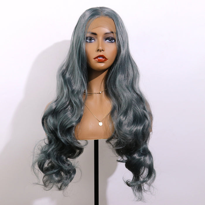 COLODO Grey Green Lace Front Wigs for Women Synthetic Wig Long Wavy