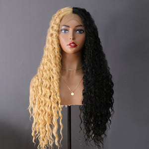 COLODO Women's Wig Hair Long Curly Cosplay Wigs Half Blonde and Dark Brown Halloween Costume Wig