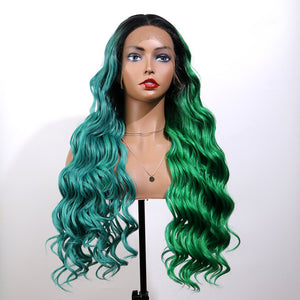 COLODO Women's Wig Hair Long Wave Blue Green Ombre Colorful Wig Cosplay Halloween Costume Wig