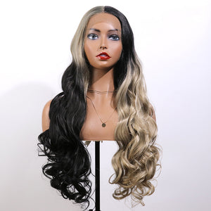 COLODO Blonde-Black Gradient Ombre Colorful Wigs Lace Front Wigs for Women Synthetic Wig Long Wavy