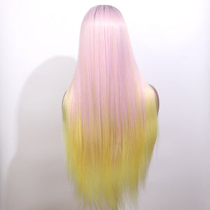 COLODO Women's Wig Hair Long Straight Hair Light Pink and Yellow Ombre Colorful Wig Cosplay Halloween Costume Wig