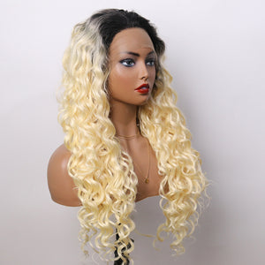 COLODO Ombre 613 Blonde Synthetic Wig Long Curly Lace Front Wigs for Women