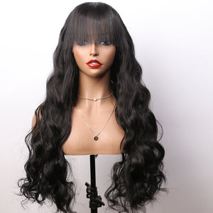 COLODO Women's Wig Hair Long Body Wavy Black Hair Cosplay Halloween Costume Wig