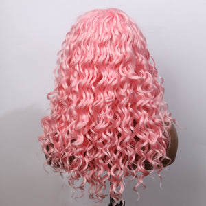 COLODO Medium Long Curly Wigs for Women Pink Synthetic Hair Lace Front Wigs