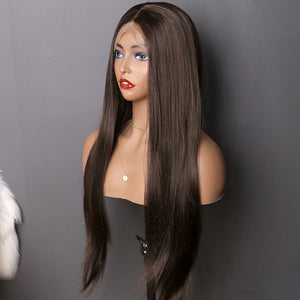 COLODO Lace Front Wigs Black Brown Wigs for Women Synthetic Straight Long Hair