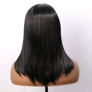 COLODO Natural Black Straight Synthetic Wig for Women Medium Long Bob Wig