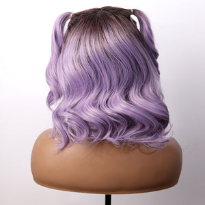 COLODO Ombre Brown Purple Short Wavy Wig Synthetic Lace Front Wig for Women