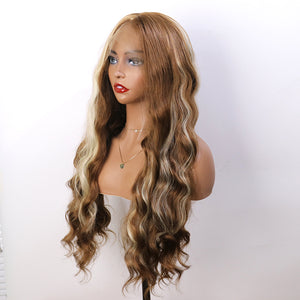 COLODO Ombre Brown Blonde Long Wavy Wig Synthetic 370 Lace Front Wig for Women