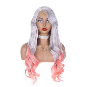 COLODO Lace Front Wigs Gray Wigs for Women Synthetic Hair Long Pink Wavy