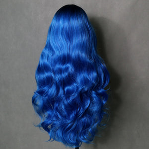 COLODO Ombre Blue Wig Long Body Wig for Women with Middle Part Dark Roots Costume Cosplay Wig Heat Resistant Fiber Party Wig