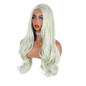 COLODO Lace Front Wigs Pale Green Wigs for Women Synthetic Hair Long Wavy