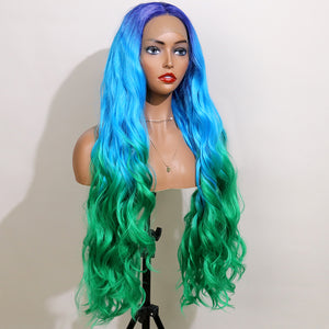 COLODO Blue Ombre Green Lace Front Wigs for Women Synthetic Wig Long Wavy Cosplay Halloween Wig