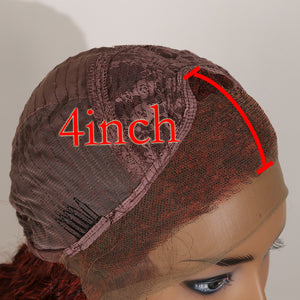 COLODO Red Brown Ombre Orange Lace Front Wigs for Women Synthetic Wig Long Curly Cosplay Halloween Wig