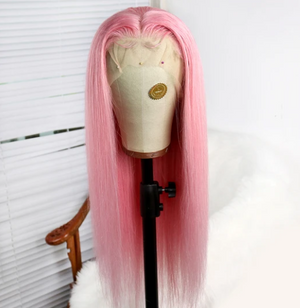 Colodo Human Hair Princess Pink Lace Front Wigs for Women