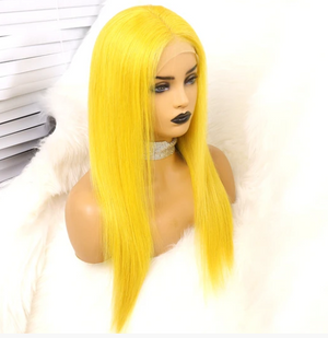 Colodo Human Hair Yellow Straight Lace Front Wigs for Women