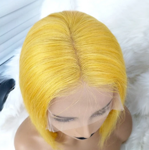 Colodo Human Hair Favorite Yellow Brazilian Human Hair Lace Wig Straight Short Bob Wigs for Women