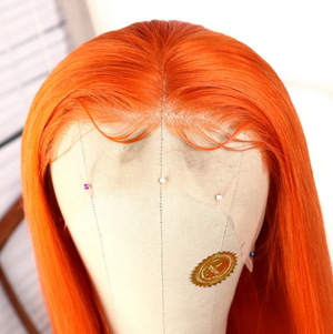 Colodo Human Hair Lace Front Wig Orange Long Straight Wigs for Women