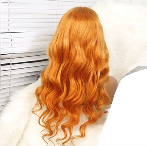 Colodo Hair Lace Front Human Hair Orange Yellow Body Wave Wigs for Women