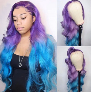 Colodo Human Purple Ombre Blue Lace Front Wigs Body Wave Long Remy Hair for Women