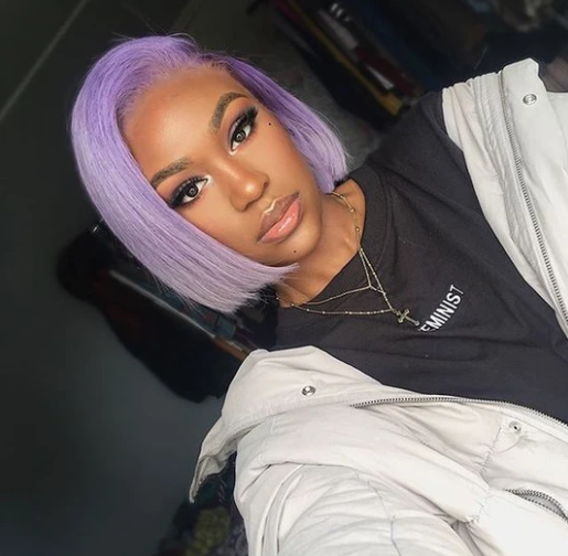 Colodo Hair Brazilian Human Hair Purple Short Bob Lace Front Wig for Women