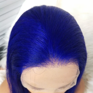 Colodo Human Blue Hair Wig Hair Straight Hair Wig Lace Front Wigs for women