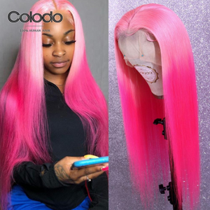 COLODO Rose Pink Straight Lace Front Wig Preplucked with Baby Hair Brazilian Remy Full Lace Human Hair Wigs for Women