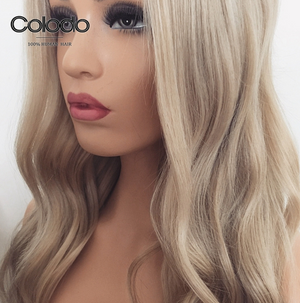 COLODO Remy Brazilian Hair Wigs Ash Blonde Lace Front Wig with Baby Hair 13x6 Lace Front Human Hair Wigs for Women