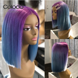 COLODO Purple Ombre Blue Short Bob Lace Front Wigs for Women Human Hair Wig Cosplay Halloween Party Wig