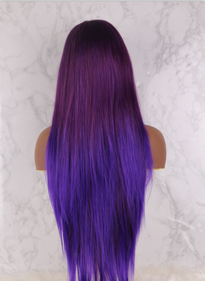 Purple Wigs Long Natural Straight Synthetic Lace Front Wig For Women