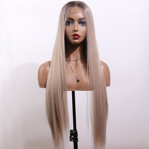 COLODO Synthetic Lace Front Wig Ombre Brown Color Long Straight Heat Resistant Wigs