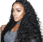 The model wears 360 Lace Front Wigs 100%Virgin Human Brazilian Hair Natural Deep Wave ZY-29.