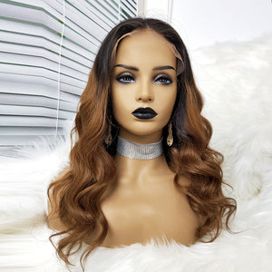 COLODO Body Wave Human Hair 360 Lace Wigs Brown Ombre Black Color For Black Women