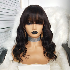 COLODO Virgin Hair 13x6 Lace Front Wigs Body Wave with Bang Nature Color