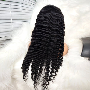 COLODO 100%Virgin Human Hair 13x4 Deep Curly Lace Front Wigs For Black Women Nature Color