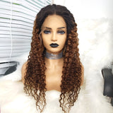 COLODO 100% Virgin Brazilian Human Hair 13x6 Lace Front Wigs Deep Wave Brown Ombre Black Wigs for Women